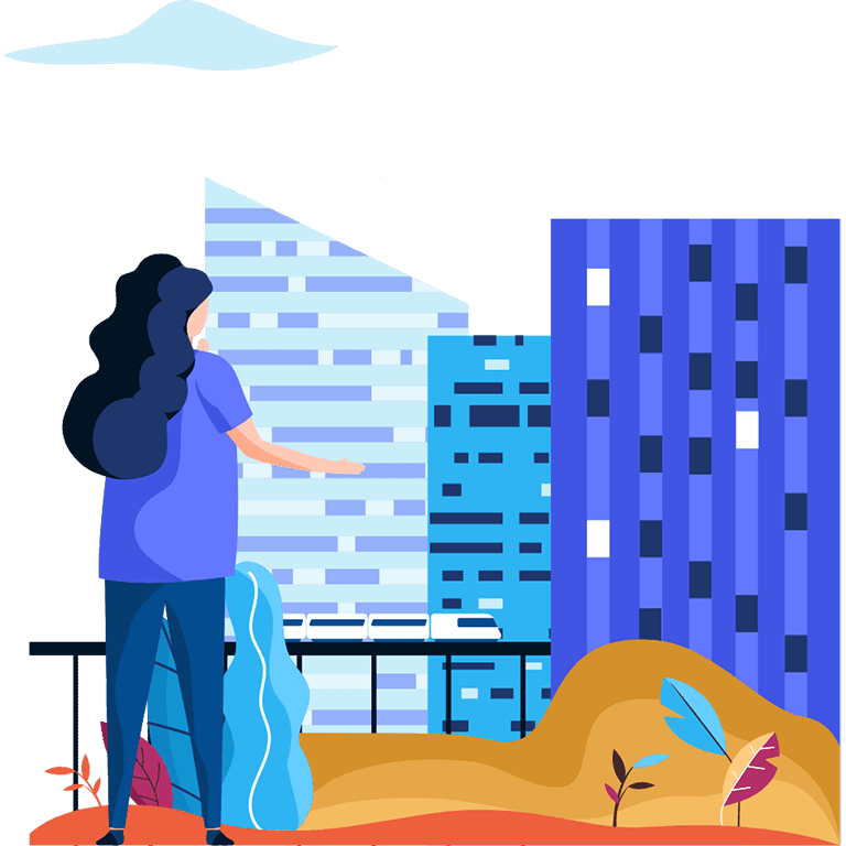 Person with buildings illustration